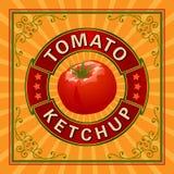 Etikett för tomatketchup Royaltyfri Fotografi