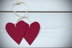 Etikett för två hjärtor med kopieringsutrymmeramen Royaltyfri Foto