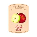 Etikett för vektoräppledriftstopp Sammansättning av gröna och röda äpplefrukter Design av en klistermärke för en krus med äppledr Arkivfoto
