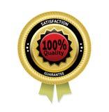 Etikett för vektor för tillfredsställelsegaranti guld- Arkivfoton