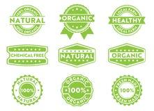 Etikett för vektorstämpelemblem för att marknadsföra att sälja som är organiskt, naturligt nytt gjort, fri kemikalie, lokala prod vektor illustrationer