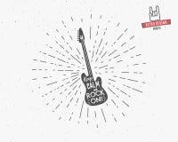 Etikett för vektortappninggitarr med sunbursten, typografibeståndsdelar, text Grunge vaggar - och - rullstil Gitarrsymbol som är  Arkivbilder