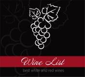 Etikett för vinlista Royaltyfri Fotografi