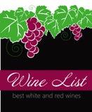 Etikett för vinlista Arkivbilder