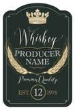 Etikett för whisky med öron av korn och kronan stock illustrationer
