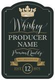 Etikett för whisky med kronan och bandet stock illustrationer