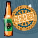 Etikett med det iskalla ölet för text Royaltyfri Foto