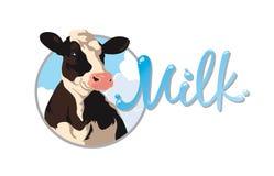 Etikett med en ko Arkivbild