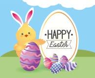 Etikett med för för kaninöron och ägg för fågelunge bärande garnering royaltyfri illustrationer
