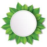 Etikett med gröna sidor Royaltyfri Illustrationer