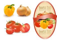 Etikett med grönsaker. Arkivfoto