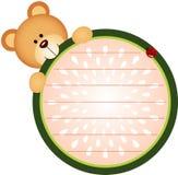 Etikett med Teddy Bear Eating Watermelon Arkivfoton