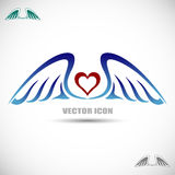 Etikett med vingar och hjärta Royaltyfria Bilder