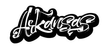 _ etikett Modern kalligrafihandbokstäver för serigrafitryck Royaltyfri Bild