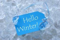 Etikett på is med den Hello vintern Royaltyfri Foto