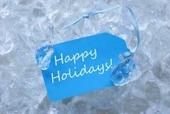 Etikett på is med lyckliga ferier Royaltyfri Fotografi