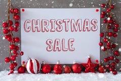Etikett snöflingor, bollar, textjul Sale Fotografering för Bildbyråer