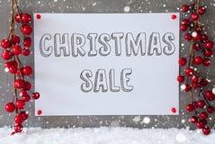Etikett snöflingor, garnering, textjul Sale Arkivfoto