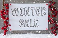 Etikett snöflingor, julgarnering, textvinter Sale Royaltyfria Foton