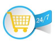 Etikett som shoppar 24/7 vektor illustrationer