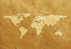 Etiketteer wereldkaart gerecycleerde document ambacht Royalty-vrije Stock Afbeelding