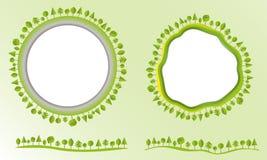Etiketteert de Eco vriendschappelijke bol met bomen ontwerpelementen moderne vlakke stijlzaken Vectorillustratie Stock Afbeelding