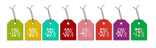 Etiketten in de nieuwe kleuren voor verkoopkoopjes en kortingen royalty-vrije illustratie