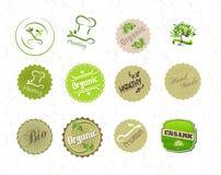 Etiketten die voor organisch natuurlijk ecovoedsel worden geplaatst en produc vector illustratie