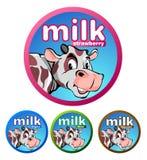 Etiketten eller märket av drycken mjölkar produkter Arkivbild