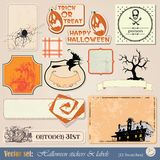 Etiketten en stickers Halloween Stock Fotografie
