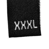 Etiketten för etiketten för XXXL-formatkläder, black isolerat Royaltyfri Bild