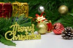Etiketten för glad jul och dekorativa objekt med gräsplan sörjer leav Arkivbilder