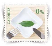 Etiketten för olik sund näring bantar produktannonseringar som stiliseras som stolpestämpel Royaltyfria Bilder