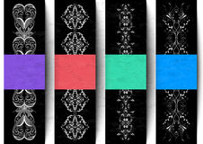Etiketten met banners en abstract ornament Stock Foto