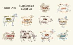 Etiketten met landbouwbedrijfdieren Vastgestelde malplaatjesprijskaartjes voor winkels en markten van natuurvoeding Vectorillustr vector illustratie