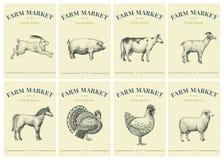Etiketten met landbouwbedrijfdieren Vastgestelde malplaatjesprijskaartjes voor winkels en markten van natuurvoeding Vector retro  stock illustratie