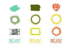 Etiketten met organische onderwerpen Stock Afbeeldingen
