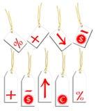 Etiketten met symbolen Stock Foto