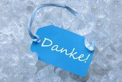 Etiketten på is med Danke hjälpmedel tackar dig Arkivbilder