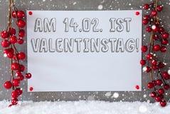 Etiketten snöflingor, garnering, Valentinstag betyder valentindag Royaltyfri Foto