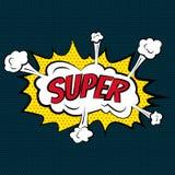 Etiketten van beeldverhaal de grappige super bellen met tekst en elementen met halftone schaduwen, retro beeldverhaal vectorpop-a Stock Foto