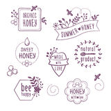 Etiketten van de de zomer de bloemenhoning, pictogrammen Stock Afbeelding