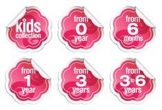 Etiketten voor productie voor kinderen van kleine leeftijd vector illustratie