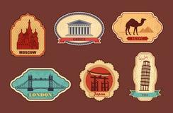 Etiketter av loppet stock illustrationer