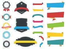 Etiketter, baner, band och klistermärkevektorer Royaltyfri Fotografi