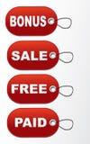 Etiketter - bonus, försäljning, fritt som betalas Royaltyfri Bild
