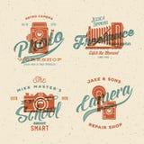 Etiketter eller logoer för kamerafotografivektor med Royaltyfria Foton