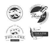 Etiketter, emblem, emblem och logo för tappningvektorteater royaltyfri illustrationer