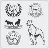 Etiketter, emblem, utmärkelser, illustrationer och konturer för hundshow av hundkapplöpning Royaltyfri Bild