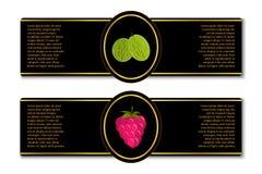 Etiketter för bärdriftstopp eller fruktsaft Arkivfoton